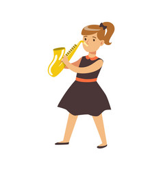 young girl in black dress playing on saxophone vector image