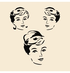 Beautiful elegant woman in retro style vector image vector image