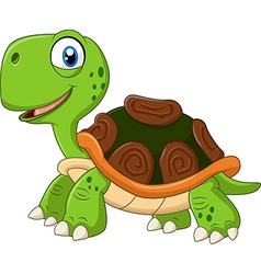 Cartoon funny turtle isolated on white background vector image vector image
