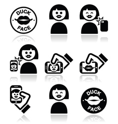 Duck face girl taking selfie with smartphone icon vector image