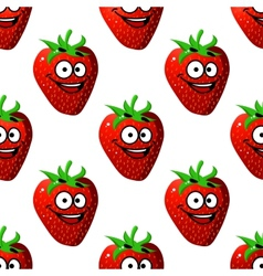 Seamless pattern of a happy ripe red strawberry vector image vector image