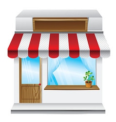 store with stripe awning vector image
