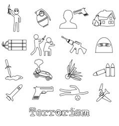 terrorism theme set of simple outline icon eps10 vector image vector image