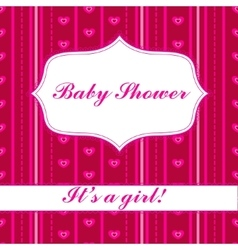 Background with banner baby shower girl vector image