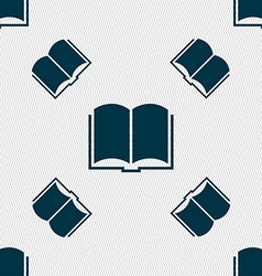 Book icon sign Seamless pattern with geometric vector image vector image