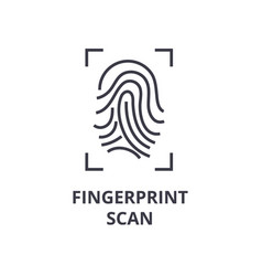 fingerprint scan line icon outline sign linear vector image