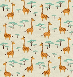 Seamless pattern with cute giraffes and trees vector image