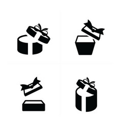 set black gift icons open gift box top view vector image vector image
