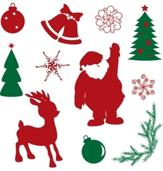 Set of christmas silhouette shapes vector image