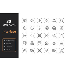 30 interface line icons vector image