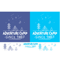 adventure camptrendy camping label hand drawn t vector image vector image