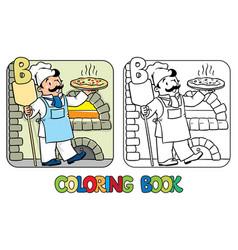 baker coloring book profession abc alphabet b vector image