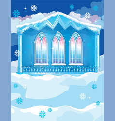 blue house with big wndows on winter vector image vector image