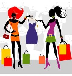 fashion shopping women vector image