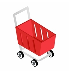 Red shopping cart isometric 3d icon vector image