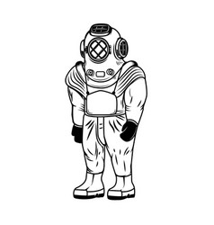 vintage diver costume isolated on white vector image