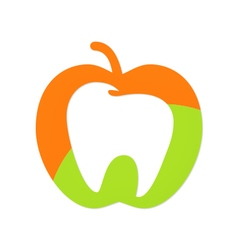 apple fruit tooth dentist logo vector image vector image