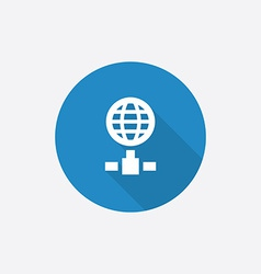 internet Flat Blue Simple Icon with long shadow vector image vector image