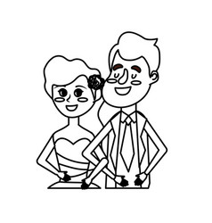 Line happy couple together and romantic vector