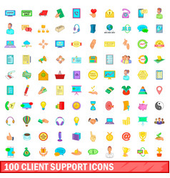 100 client support icons set cartoon style vector