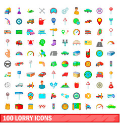 100 lorry icons set cartoon style vector image
