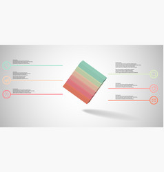 3d infographic template with embossed cube askew vector