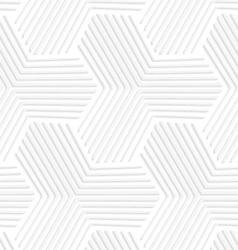 3D white striped hexagonal stars vector
