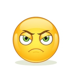 Angry emoticon on white background vector