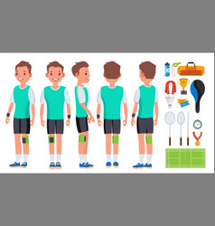 badminton young man player motion game vector image