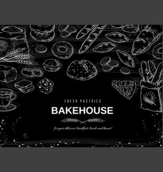 Bakery chalk background blackboard bread and vector