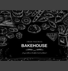 Bakery chalk background blackboard bread vector