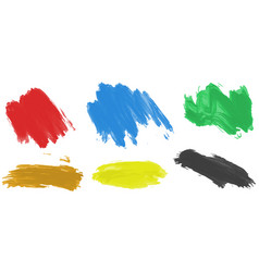 Brushstrokes for acrylic paint in six colors vector