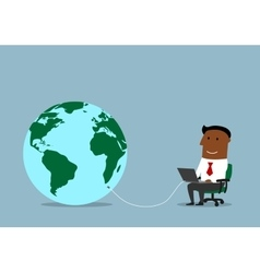 Businessman working online on a laptop vector image