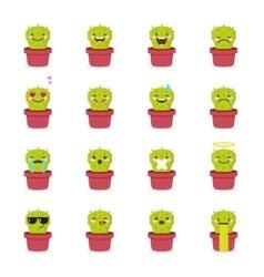 Cactus emoji set Funny succulent emoticons vector