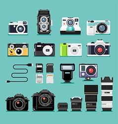 Camera flat icons vector