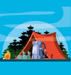 Camping zone with tent and landscape vector