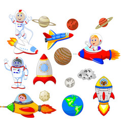 cartoon astronaut with spaceship collection set vector image