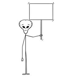 Cartoon extraterrestrial alien holding empty vector