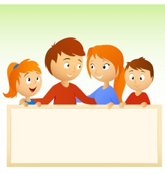 cartoon family holding blank sign vector image