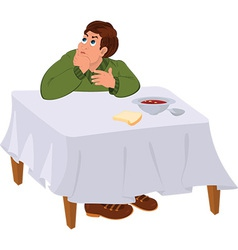 Cartoon man in green sweater sitting under the vector image
