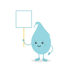 Cartoon water drop character holding blank sign vector