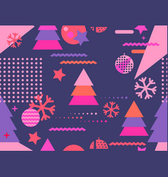 christmas seamless pattern memphis with vector image