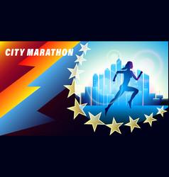 City marathon banner poster vector