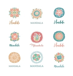 Collection of hand drawn mandalas symbols vector