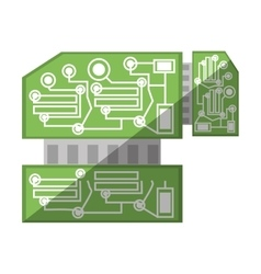 computer hardware processor card shadow vector image
