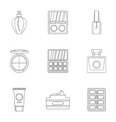 Cosmetics icons set outline style vector image