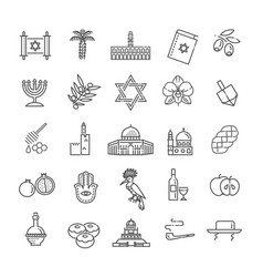 country israel travel vacation icons set vector image