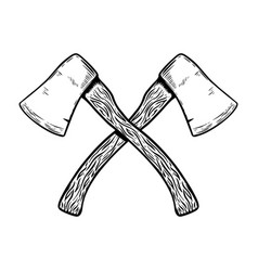 crossed hatchets on white background design vector image