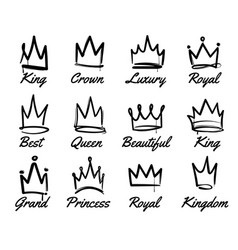 crown logo hand drawn graffiti sketch and vector image