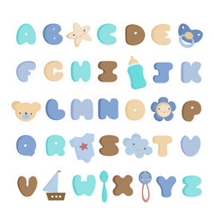 cute baby boy alphabet and elements set vector image